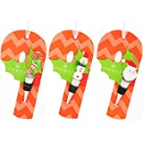 3 Piece Holiday Wine Stoppers on Candy Cane Gift Tag