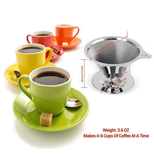 Coffee-Lovers-Dream-Permanent-Reusable-Pour-Over-Coffee-Dripper-Eco-Friendly-BPA-Free-188-Stainless-Steel-Pour-Over-Cone-Dripper-with-Cup-Stand-Complementary-Measuring-Spoon-Brews-4-Cups