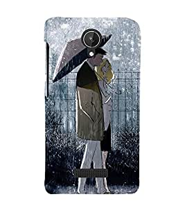 Couple in in Rain 3D Hard Polycarbonate Designer Back Case Cover for Micromax Canvas Spark Q380