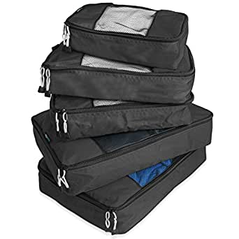 TravelWise Packing Cube System - Durable 5 Piece Weekender Plus Set [2014 Version] (Black)