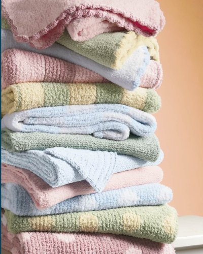 Colorado Clothing Crib Clouds Chunky Chenille Striped Baby Blanket, Cotton Candy/ Petal
