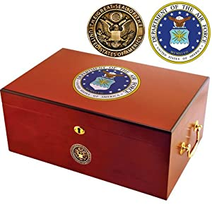 Air Force Humidor by American Emblems - 50 Cigars - (12 x 9 3/4 x 5 5/8)