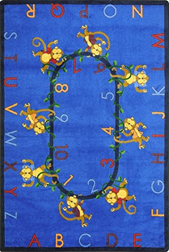 "Motivating Monkeys 123'S & Abc'S Premium Cut Pile Stainmaster Nylon Area Rug (7'8""X10'9"", Blue) front-976486"