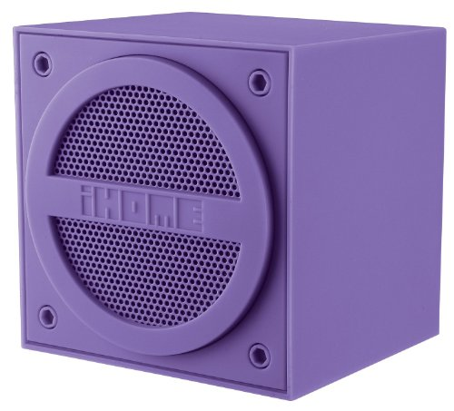 Ihome Mini Rechargeable Wireless Bluetooth Speaker Cube, 2 -In-1 Cable With Usb Plug For Charging Or Attaching Smartphone Iphone Or Ipod, Aux Line Out Jack To Connect Additional Speaker, With Built-In Long-Lasting Internal Lithium Ion Battery, Rubberized
