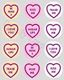 12 Love Heart Sweets Toppers rice paper fairy / cup cake 40mm pre cut decoration Love hearts Valentine