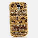 3D Luxury Swarovski Crystal Sparkle Diamond Bling Gold Leopard Design Case Cover for Samsung Galaxy S4 S 4 IV i9500 fits Verizon, AT&T, T-mobile, Sprint and other Carriers (Handcrafted by BlingAngels®)