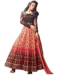 ARYAN FASHION Pretty Brown Anarkali Suit With Lace Work Semi-Stitched Suit ( Bottom Unstitched)