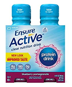 Ensure Active Protein Clear Nutrition Drink, Blueberry Pomegranate, 10-Ounce, 4 Count (Pack of 3) (Packaging May Vary)