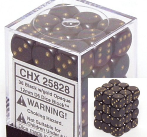 Black with Gold Opaque Dice 12mm D6 Set of 36 - 1