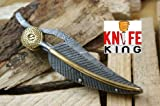 "MASSIVE SALE"" Knife King Custom Damascus Handmade Folding Knife. With Leather Sheath. Top Quality"