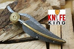 MASSIVE SALE Knife King Custom Damascus Handmade Folding Knife. With Leather Sheath.... by Knife King