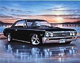 1967 Chevelle SS Hardtop Muscle Car Art Print Black 11x14