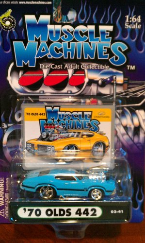 Muscle Machines 70 Olds 442 blue with black trim 02-41 by Funline