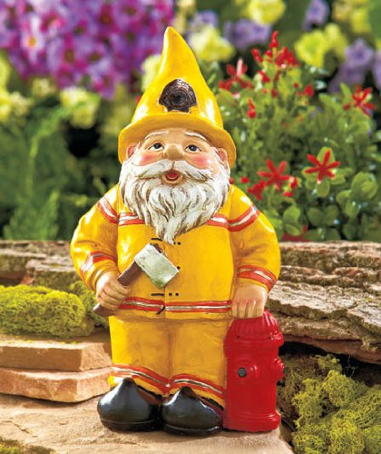 Garden Gnome Fireman Fire Fighter Figure