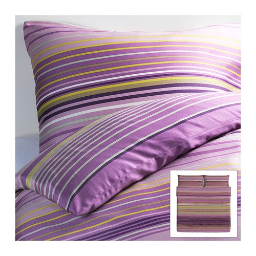 Ikea Palmlilja Duvet Covers Lilac 3Pc King Duvet Covers Stripe, Cotton Lyocell 207 Tc front-192470