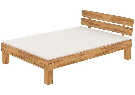 Solido largo letto/futon 140x220 faggio Eco laccato,assi di legno e materasso 60.86-14-220 M
