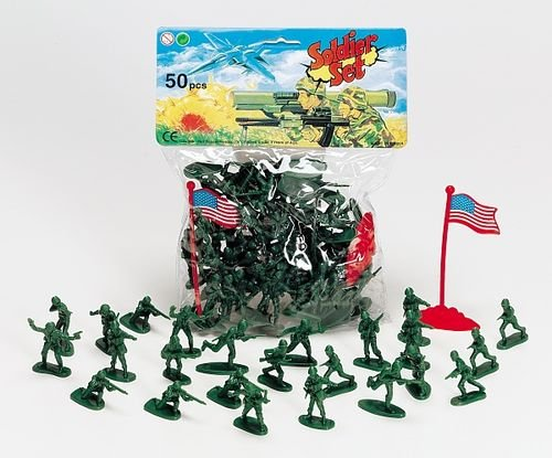 Buy Low Price Patrick's Classic Toy Green Army Men 50 Piece Plastic Soldier Set (50 soldiers) Figure (B000VXA042)