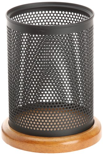 Rolodex Punched Metal & Wood Pencil Holder, Black Metal And Cherry Wood Finish (Q22721) front-684302
