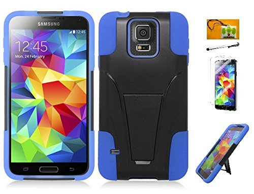 LF Blue Black Hybridy Dual Layer Heavy Duty Impact Armor Case with Kickstand, Lf Stylus Pen, Screen Protector & Droid Wiper for (AT&T) Samsung Galaxy S5 Mini G800 (Stand Black / Blue) (Samsung S5 Mini Armor compare prices)