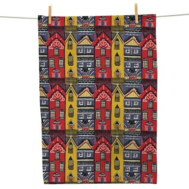 V&A 'Houses' Tea Towel||EVAEX||RHFPR