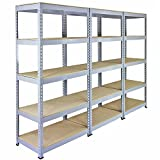 Panana 3x 1.8m Warehouse 5 Tier Racking Shelf Heavy Duty Steel Garage Shelving Unit 180x90x40cm Silver