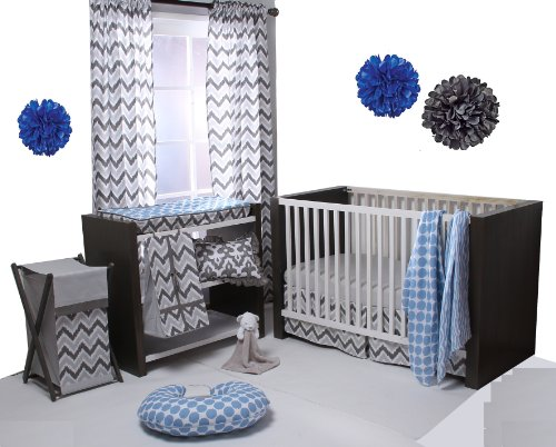 Ikat Blue/Grey 4 Crib Set with 2 Muslin Blankets