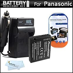 Battery And Charger Kit For Panasonic Lumix DMC-LX7 DMC-LX7K DMC-LX7W DMC-LX5 Digital Camera Includes Extended Replacement (1700Mah) DMW-BCJ13 Battery (WITH INFO CHIP!) + Ac/Dc Rapid Travel Charger + MicroFiber Cloth + More. Battery Shows Time On LCD!