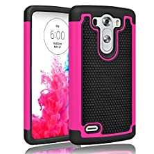 buy Lg G3 Mini Case ,[Corner Protection] Protective Case Detachable Defender Thin Protective Anti-Dirt Scratch Resistant Hard Soft Heavy Duty Rubber Bumper Case Cover For Lg G3 Mini(Black/Rose)