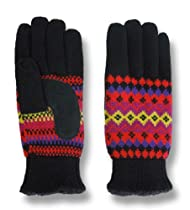 Isotoner Womens Fairisle Stretch Knit Gloves - One Size, Black Laser