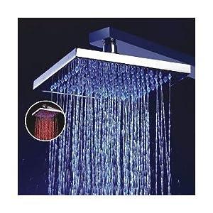 SODIAL(TM) 8 pouces Tšºte de pomme de douche fonction de tempšŠrature sensible LED, chrome