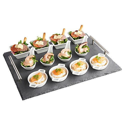 vonshef-13-piece-tapas-appetiser-set-with-slate-board-ideal-for-dining-buffet-desserts-free-2-year-w