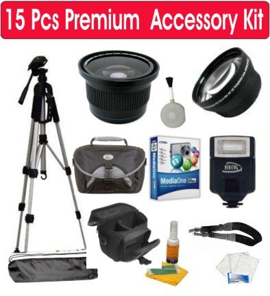 15 Piece Premium Accessory Kit with Corel MediaOne Plus Software + Deluxe Padded Camera Case + .42x Fisheye Wide Angle Lens + 2X Telephoto Lens + Digital Slave Flash + 50