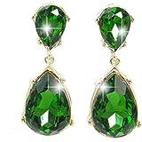 EVER FAITH Gold-Tone Teardrop Dangle Earrings Emerald Color Austrian Crystal