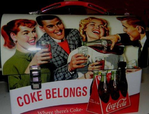 Coca Cola Retro Dome Shapped Tin Lunch Box - 1