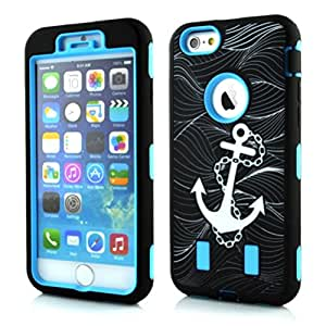 iPhone 6S Plus Case,Quola 3 in 1 Anchor Print Deluxe Printed Hard Soft High Impact Hybrid Armor Defender Case Combo for Apple iPhone 6 Plus 5.5inch + Screen Protector + Stylus(Blue&Black)