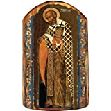 """St Nick 4.75""""h Icon Ornament Handcrafted in Wood, Religious Gift by G. Debrekht"""