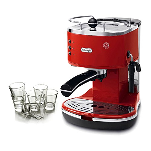 DeLonghi Icona Red Pump Espresso Maker with Free Set of 6 Italian Espresso Shot Glasses