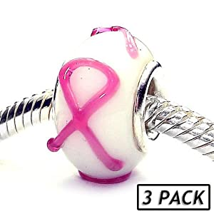 Coastal Collection Silver Glass Beads (3 Pack) - Breast Cancer Awareness (Pandora and Chamilia Compatible)
