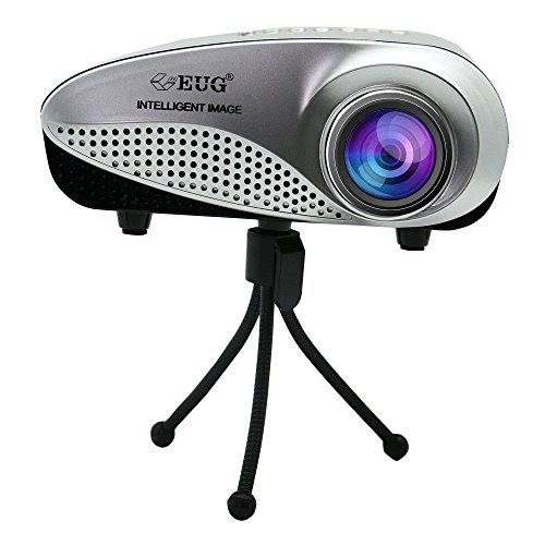 EUG Portable Mini Projector 1080P Multimedia Micro Small Cinema Theater System HD LCD Projector Compatible with Laptop Smartphone PC iPhone -Black