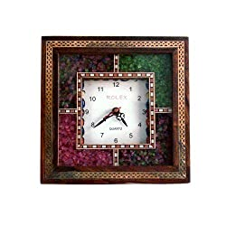 Little India Antique Handcrafted Gemstone Wooden Wall Clock (Brown,HCF189)