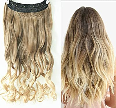3/4 Full Head Clip in Hair Extensions Ombre One Piece 2 Tones Wavy Curly (Light ash brown to sandy blonde)