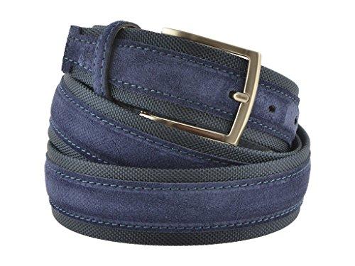 Cintura tela e camoscio uomo blu 4 cm in vera pelle artigianale made in Italy (120 cm (50/52 - 52/54 EU))