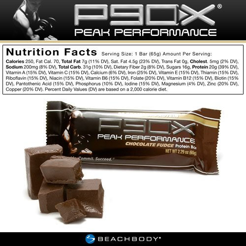 P90X Peak Performance Protein Bars: Chocolate Fudge Flavor, Pack of 12