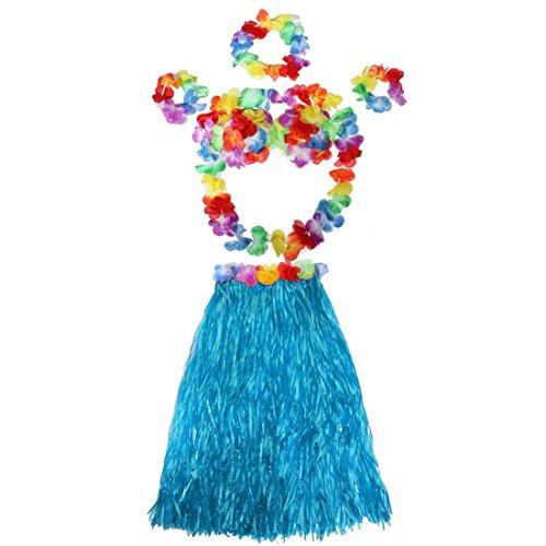 Jdbuy Hawaiian Tropical Hula Luau Grass Dancer Skirt And Bra Set (Blue)