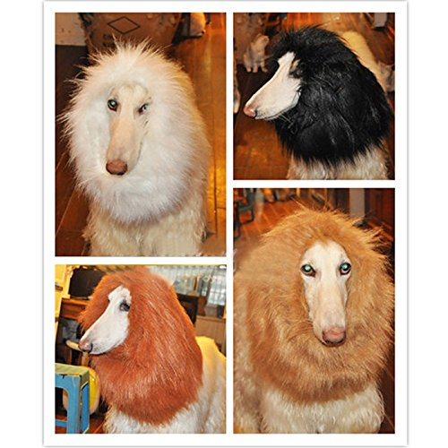 Wotefusi Halloween Large Pet Dog Cat Lion Wigs Mane Hair Party Fancy Dress Clothes Costume White