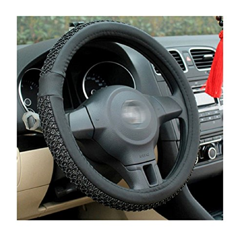 Iuhan Fashion Universal New Leather DIY Car Steering Wheel Cover With Needles Non-Slip 38cm/15.0