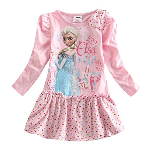 [IGO.]Frozen cartoon baby girls skirt autumn cotton Long sleeve dress NB