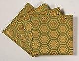 ペデスタル(板付綿入座卓敷) 亀甲柄 緑 15cm角 1組(4枚入り)