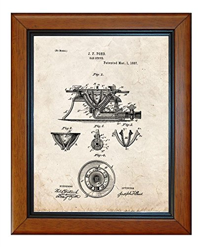 "Gas Stove Patent Art Old Look Print In A Honey Glazed Wood Frame (8.5"" X 11"")"
