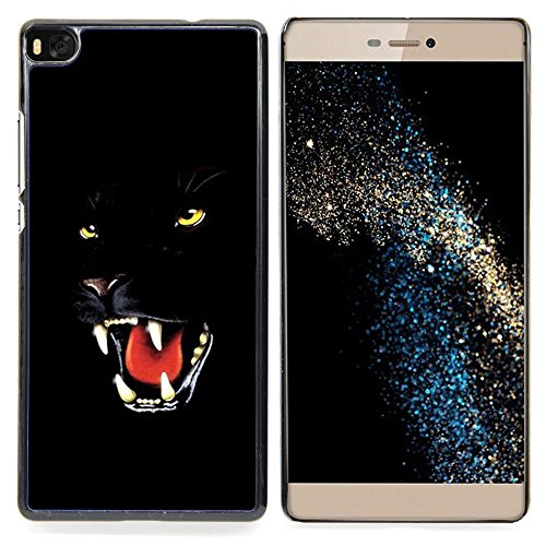 GIFT CHOICE / Dimagriscono Duro Custodia protettiva Caso Cassa Slim Hard Protective Case SmartPhone Cover for Huawei Ascend P8 (Not for P8 Lite) // Fierce Black Panther Jaguar Cat //